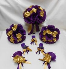 18 Piece Package Silk Flower Wedding Bridal Bouquet GOLD PURPLE EGGPLANT ROSE