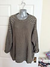 Ladies Topshop green gem detailed jumper uk size 14