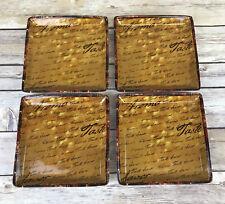 "Tastefully Simple Appetizer Plate Rust Script Taste Aroma Savor 6"" Sq Set of 4"