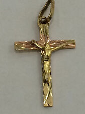 1.0 inch long Religious Tri Color 14k yellow  Gold Jesus Crucifix Cross Pendant