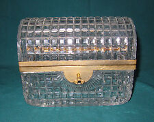 Antique Victorian Glass Crystal Jewelry Box Brass Hardware with Key