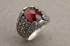 Turkish Handmade Jewelry Oval Marcasite Ruby 925 Sterling Silver Men's Ring 8