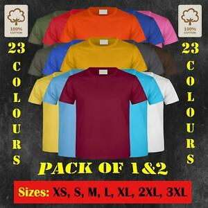 Mens T- Shirt 100% Cotton Basic Regular Fit Casual Tee Shirt 150gsm Top 1/2 Pack