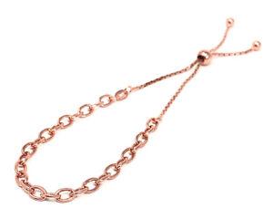 Ladies Rose Gold Tennis Bracelet - Adjustable Size