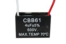 CBB61 500V 4UF Terminal Ceiling Fan Motor Running Rectangle Capacitor 2 wires