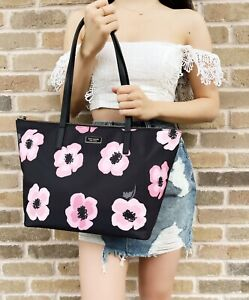 Kate Spade Hayden Floating Poppies Top Zip Nylon Tote Black Pink Floral Rose