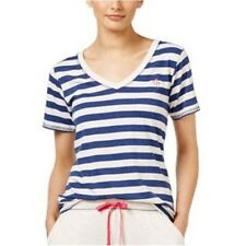 Tommy Hilfiger Women's Pajama Top Sleepshirt Stripe Beige & Blue Size L $40