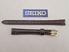 Seiko 10mm lug size brown genuine leather watch band strap lizard grain