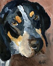 Bluetick Coonhound Dog 11x14 signed art Print from Painting Rjk