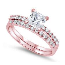 Princess Cut Round CZ Wedding Ring Band Bridal Set Sterling Silver Choose Color