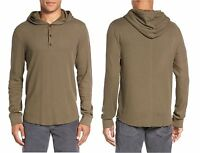 VINCE Brand Men's Sweater Waffle Long Sleeve Pullover Hoodie Thermal Shirt Green