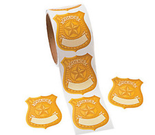Roll of 100 - Police Badge Name Tag Stickers - Detetctive Spy Party Bag Fillers