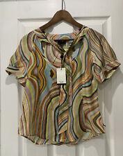 BNWT Paul Smith Black Label Swirl Pattern Tie Neck Shirt Blouse Size 46 UK 14