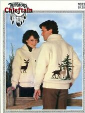 "Knitting PATTERN Reindeer Deer Adult Jacket Sweater Size 34-44"" Patons Chieft"
