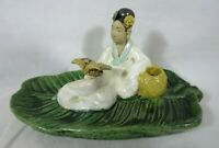 Vintage Chinese Mud Man Woman Clay Figure Reading Sitting On Green Leaf 5.75 x 3
