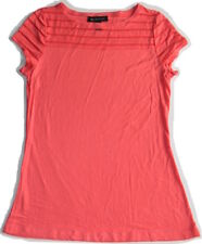 INC International Concepts Petite PL Short Sleeve Striped Tee Top Red Grapefruit