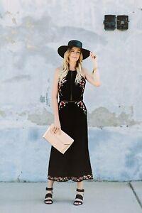 Zimmermann Elegant Sakura Embroidered Black Floral Jumpsuit Size 1