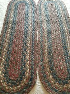 Braided Oval  Multi Color ( Earthtone  Shades) StairTreads (26.5x8)   7 total