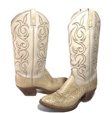 Vintage Dan Post Snakeskin Womens 6.5C Cowboy Western Boots Ivory Made In USA