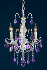 DUSX Charlotte Cream Crack & Purple Crystal Glass French 3 Arm Chandelier Light