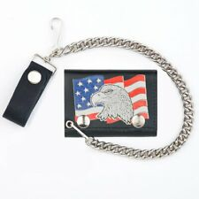MASCORRO BLACK LEATHER TRIFOLD CHAIN WALLET W/US FLAG AND EAGLE