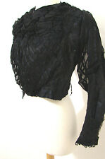 Antique Victorian Leg O Mutton LS Black Boned Morning Silk Embroidered Jacket XS
