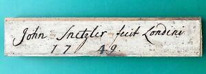 John Snetzler Swiss Organ Builder Fecit Londini 1749 Autograph Name Plate