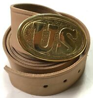 CIVIL WAR US UNION ENLISTED FIELD BELT & BUCKLE- SIZE V (FITS 50-60 INCH WAIST)