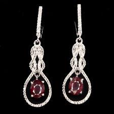 REAL Oval Cut 8x6 MM Top Blood Red Ruby & W.Cz 925 Sterling Silver DROP Earrings