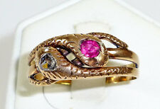 RING 585 Gold Schlangenring Diamantrose Diamantrauten Rubin Rotgold 19. Jhd