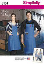 SEWING PATTERN! MAKE 40S VINTAGE STYLE FULL APRON! MISS~MAN~CHILD! BARBEQUE~WORK