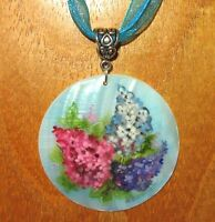 Pendant Shell Genuine Russian ART Hand Painted White Lip LILAC TREE PINK FLOWERS