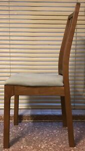 Set of 4 IKEA Ekedalen chairs. Medium brown wood with grey linen fabric.