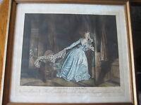 """Vintage Nicolas Francois Regnault """"Le Baiser A La Derober"""" Etching Print W/Frame"""