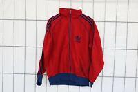 Adidas Vintage Training Track Jacke Gr. 7 ca. M  jacket Rot Marineblau HO6