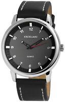 Excellanc Herrenuhr Schwarz Silber Analog Kunst-Leder Armbanduhr X-2900131-001