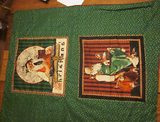 Hand Crafted Norman Rockwell Santa Blanket Throw Quilt Red & Green - Great gift