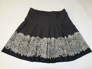 Talbots Women's Pleated A-Line Skirt Size 18 Black White 100% Cotton