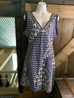 ANTHROPOLOGIE VELVET S Batik Blue Tunic Dress Silk Cotton Blend Sheath Beach
