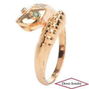 Estate Diamond Emerald 14K Gold Fancy Snake Crossover Ring NR