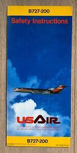 USAIR BOEING 727-200 SAFETY CARD 1985
