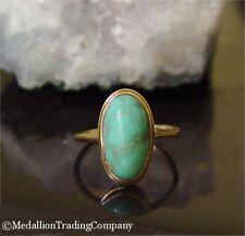 Handmade 14k Yellow Gold Oval Green/Blue Turquoise Bezel Set Ring Size 6.5