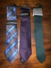 Mens 3x Marks & Spencers Ties BRAND NEW Blue Striped, Green Knit & Pink Spots