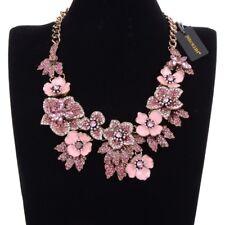 Vintage Gold Chain Pink Enamel Crystal Collar Statement Pendant Bib Necklace New