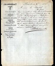 """PARIS (II°) USINE de TISSUS pour MEUBLES """"J.B. LOUBIER"""" en 1881"""