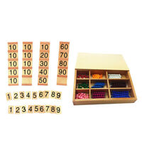Wooden Montessori Board Counting Beads Number Maths Preschool Kids Toy Gifts