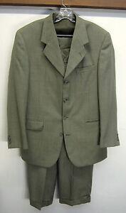 vtg Federico Pucci Suit 3 Piece Blazer Vest Pants 4 btn pale green sz 42L 38x29