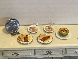 Vintage Artisan LITZ Breakfast of Champions Eggs Cereal Dollhouse Miniature 1:12