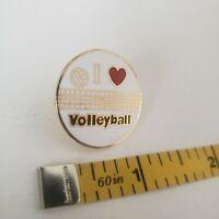 I LOVE HEART VOLLEYBALL VOLLEY BALL NOVELTY Enamel lapel PIN accessory AVP vtg