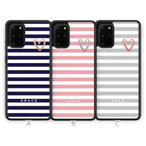For Samsung S21 Plus Ultra S20 S10 Phone Case Stripe Heart Personalise Initial